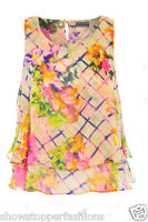 NEW Womens Floral Swing Vest Sleeveless Top Strappy Cami Ladies Size 8 10 12 14