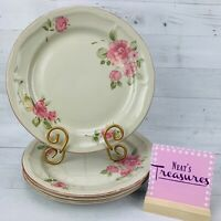 Gibson Designs ROSELAND  856183 Pink Floral Stoneware Dinner Plates Set of 4