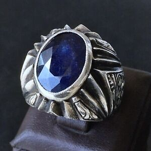 Blue Sapphire Mens Ring Sterling Silver solid Unique Handcrafted Jewelry