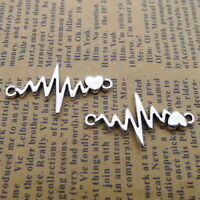 10pcs Charms Heartbeat ECG Pattern Connector Tibetan Silver DIY Necklace 17*32mm