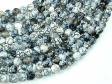 Dragon Vein Agate Beads, Gray & White, 6mm Faceted Beads, 14 Inch (122025291)