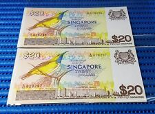 2X Singapore Bird Series $20 Note A/62 628296 - 628297 Run Dollar Note Currency
