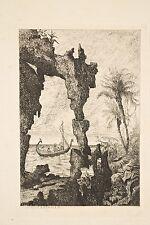 Gravure originale eau-forte Tancrède ABRAHAM XIX°s Paysage Mythologique