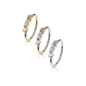 Nose Hoop Rings CZ Set hearts Top 316L Surgical Steel
