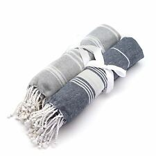 Turkish Beach / Bath / Yoga / Hammam Peshtemal Fouta Towel Grey & Dark Blue x2