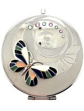 Butterfly Crystallized Compact 888 HandHeld Compact Mirror Bejeweled Enameled