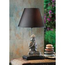 "LOTUS MEDITATING BUDDHA Table Lamp w Shade 24"" Religious Asian New 15160"