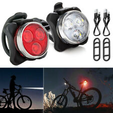 2Pcs Waterproof Bicycle Bike Lights Front Rear LED Light Lamp USB Rechargeable