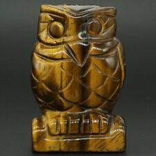"Owl Figurine Gemstone Yellow Tiger Eye Hand Carved Animal Statue Decor 2.5"""