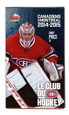 MONTREAL CANADIENS 2014-15 SCHEDULE WITH CAREY PRICE ON COVER