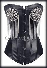 Spike Black Faux Leather CORSET Bustier Steampunk Size S-6XL Rivets GL-A2820