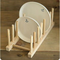 1Set Wooden Dish Drainer Bamboo Plate Holder Kitchen Plates Organizer Rack Stand