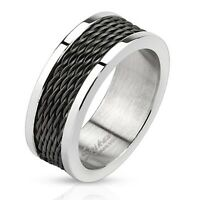 Men's 8mm Wedding Band Stainless Steel Black IP Wire Inlay Polished Edegs Ring