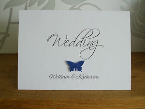 Handmade Personalised Single Butterfly Wedding / Reception Invitations