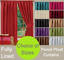 FAUX SILK LIVINGROOM BEDROOM PLAIN STYLISH TAPE TOP READYMADE LINED CURTAINS