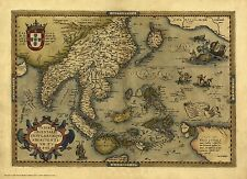 India, Japan, Indonesia in 1570 - reproduction of an old map by Abraham Ortelius
