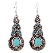 Pretty & Fun New Tibetan Silver Turquoise & Crystal Oval Dangle Drop Earrings