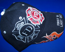 1 BLACK EMBROIDERED Fire Department W/ Flames Shadow HAT  BALL CAP NEW Fits Most