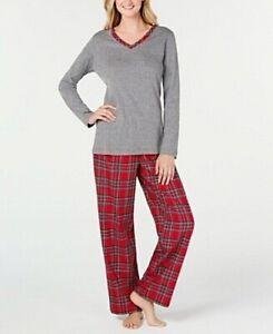 Charter Club Women's Large Petite Brinkley Plaid Flannel Mix It Pajamas Set NWT