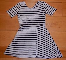 Cute Black & White Striped Dkny (Donna Karan) Dress Girl Size M 10-12