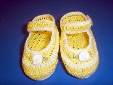 CROCHET HANDMADE BABY GIRL DOLL BOOTIES SHOES YELLOW & WHITE STRIPE  MARY JANE