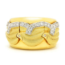 Vintage Diamond Wavy Cigar Band 18K White & Yellow Gold .30ctw