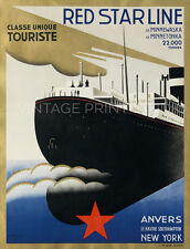 BELGIUM TO NEW YORK, 1932 Vintage Ship Art Deco Reproduction Canvas Print 20x26