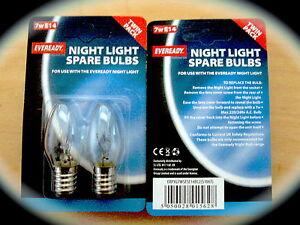4  EVEREADY SPARE NIGHT LIGHT BULB 7W SES  PYGMY E14 14MM SCREW THREAD
