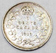1919 Canada / Canadian Five-Cent Half-Dime - F Fine Condition