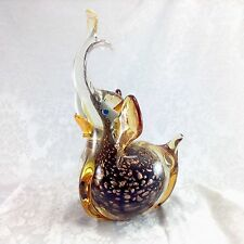 "Murano Amber Gold Elephant 9"" Animal Figural Figurine Art Glass Italy"
