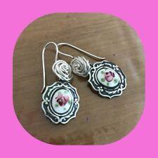 Pink Rose Cameo Earrings