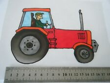 Handmade Red Tractor Farm Window Picture Sticker