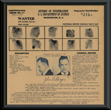 1933 John Dillinger Wanted Poster Fingerprints Reprint On 80 Year Old Paper P032