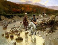 Oil painting Franz Roubaud Cossacks in the mountain river horsemen Hand painted