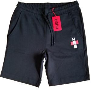 HUGO BOSS Regular Fit * 100% Cotton Logo Sweat Shorts * Black Size M NEW w/Tags