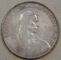 Switzerland 1926-B Five Francs AU as Pictured