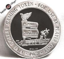 $5 PROOF STERLING SILVER SLOT TOKEN THUNDERBIRD CASINO 1967 FM MINT LAS VEGAS NV