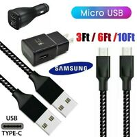 3/6/10FT Micro USB Cable Fast Wall Charger For OEM Samsung Galaxy J7 S6 S7 note5