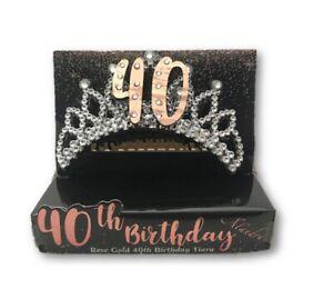 40th Birthday Metallic Rose Gold Silver Tiara Hair Comb Crown Party B-Day Attire