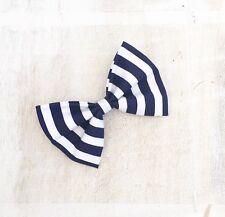 Navy Blue & White stripe Nautical Sailor Hair Bow clip