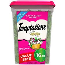 Cat Treats Temptations 16 Oz. Catnip Flavors Kitty Crunchy Food Delicious Snacks