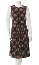 Marc Jacobs Brown Tan Crew Neck Plaid Wool Sleeveless Dress Back Size 6NWT Peats