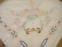 VINTAGE HAND EMBROIDERED LINEN FLORAL CROSS STITCH TABLECLOTH  33'' x 32''