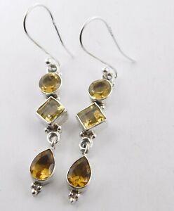 925 Sterling Silver 4 Pair Multi Cut Gemstone Earrings M-380