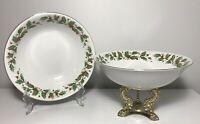 PAIR Vintage China Pearl Fine China Noel Holly Berry Serving Bowls Christmas 9""
