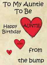 Auntie to be from bump Happy Birthday A5 Personalised  Greeting Card pidb1a1