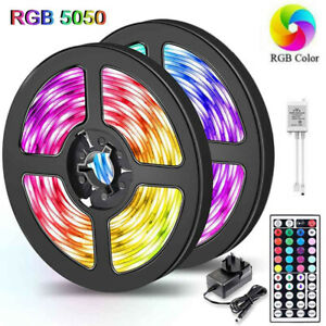 1-20M RGB 5050 LED Strip Lights With IR Remote Back Light 12V Colour Changing UK