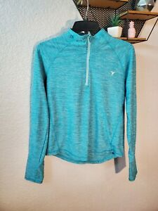 Old Navy Active Go Dry Blue Long Sleeve Pullover Top With 1/4 Zipper Sz L