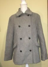J CREW WOMENS GRAY WOOL BLEND DOUBLE BREASTED PEACOAT Size Large