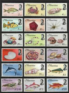 MAURITIUS 1969-73 FISHES SET (18) MNH. A FEW TRACES OF TONING SG 382-399. (1520)